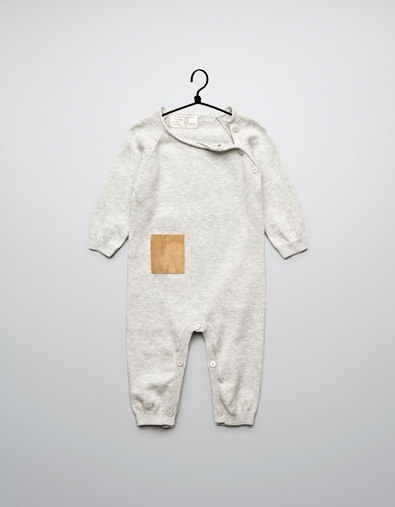 crossover romper suit with suede pocket - Collection - Mini (0-9 months) - Kids - ZARA
