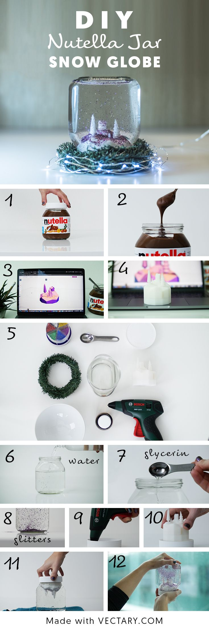 Make your own authentic snow globe with VECTARY and Nutella jar.  Design a landscape or whatever you like and fit it into a jar for the coolest Christmas snow globe ever.   #diy #christmas #christmasdecor #snowglobe #masonjar #nutella #christmastime #homedecor #homedecorideas #3Dprint