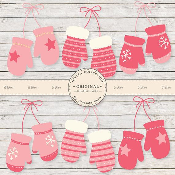 Professional Pink Mittens Clipart, Pink Mitten Clip Art, Pink Mitten Vectors, Winter Mittens, Winter Clipart