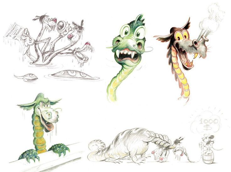 Character designs for the sea serpent in the abandoned short Mickey's Sea Monster, by Ferdinand Horvath (1935).