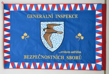 Vyšívaný prapor Generální inspekce bezpečnostních sborů GIPSEmbroidered Ceremonial Flag of the General Inspectorate of Security Forces GIPS