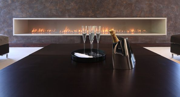 Floating Fireplace Creates a Contemporary Feel