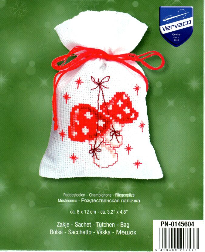 Cross-stitch Christmas Sachet Sets, part 1...    Mushrooms Sachet, Cover Page, Page 1/2e, PN-0145604