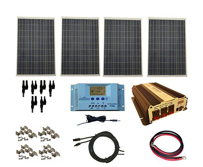 Amazon Com Windynation Complete 400 Watt Solar Panel Kit With 1500 Watt Vertamax Power Inverter Rv Boat Off Gr Solar Panels For Home Solar Kit Solar Panels