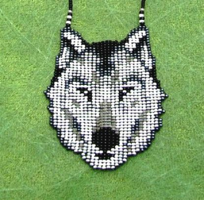 Native American Wolf, Seed Beaded Wolf Necklace. Spirit Animal Necklace.