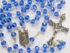 Diamond Cut Crystal Sapphire Rosary.