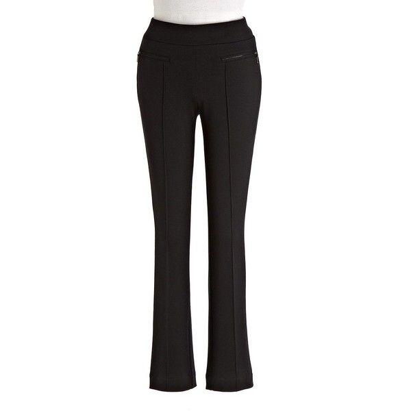 Rafaella Petites Women's Classic Fit Skinny Ponte Pants ($41) ❤ liked on Polyvore featuring pants, black, slim fit pants, skinny trousers, pull on pants, petite trousers and petite skinny pants