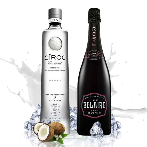 Luxury Party (Luc Belaire Rose + Ciroc Coconut Vodka) : Enjoy these two fabulous drinks and their magical taste when combined.  Luxury Party Pack: Luc Belaire Rose + Coconut Ciroc Vodka 1L The Luc Belaire Rose touch with Ciroc Coconut Vodka will make you enjoy an exceptional flavor.