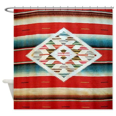 Vintage Red Mexican Serape Shower Curtain Vintage Red