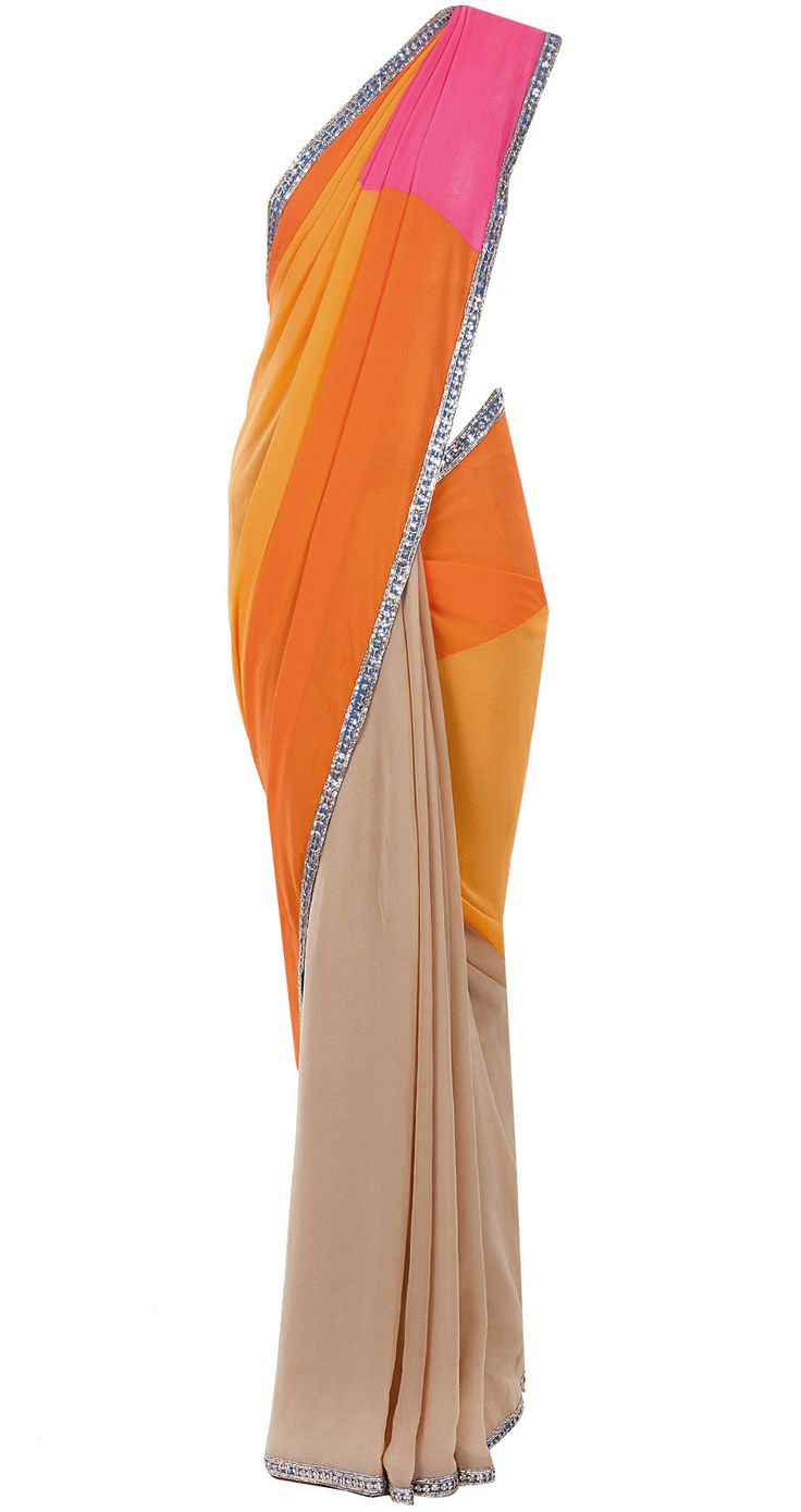 Pink, beige and orange colour block sari by MANISH MALHOTRA. Shop at http://www.perniaspopupshop.com/designers-1/manish-malhotra