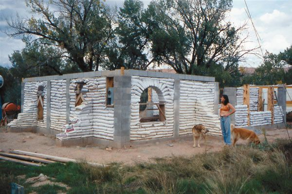 This cement-block frame, earthbag-infill house was the first of its kind in Utah to receive a building permit. Photo courtesy OK OK OK Productions