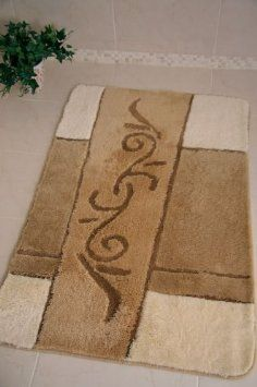 Cream Beige Quality Shaggy Washable Bath Mats 50x80cm Rectangle Co Uk