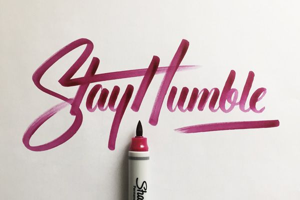 Lettering by Colin TierneyMedium used: Sharpie Brush Tip Permanent Marker - Berry