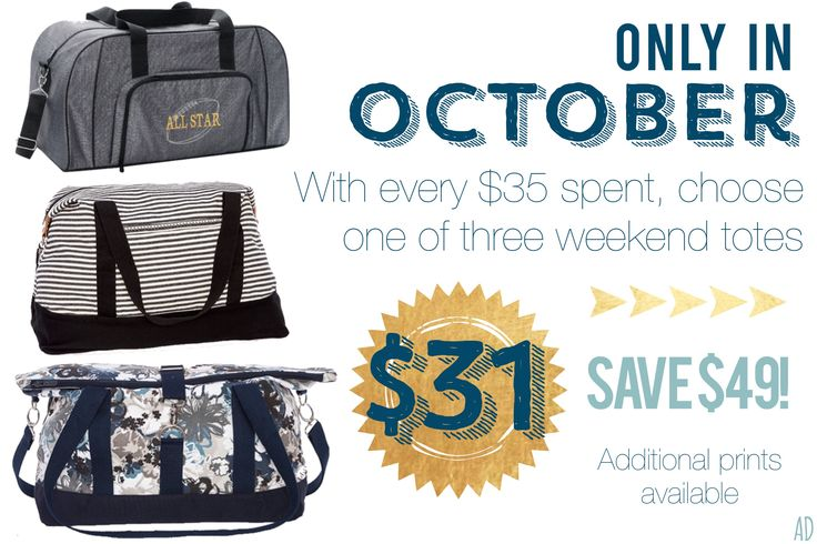 Thirty One October 2017 Customer Specials!! I LOVE the weekenders! www.mythirtyone.com/alysondarby
