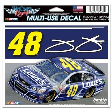 Jimmie Johnson Official NASCAR X Car Window Cling Decal - Window clings for car sports