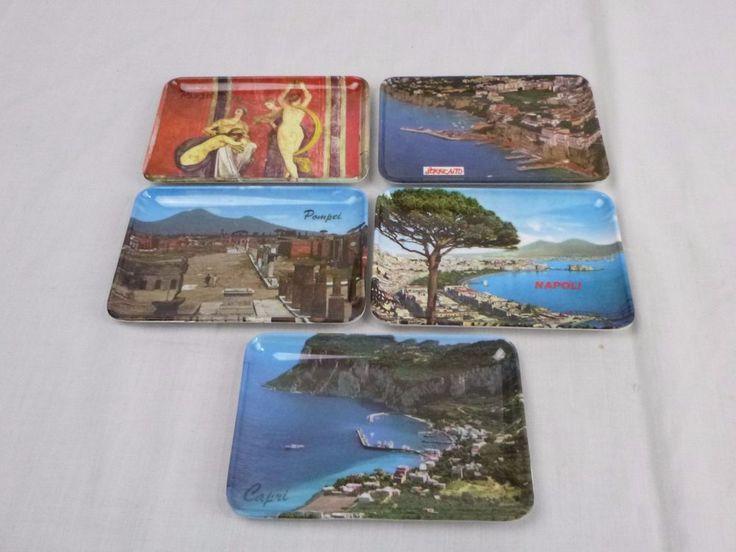 Vtg Souvenir Melmac Melamine Postcard Trays Italy Capri Pompei Napoli Sorrento