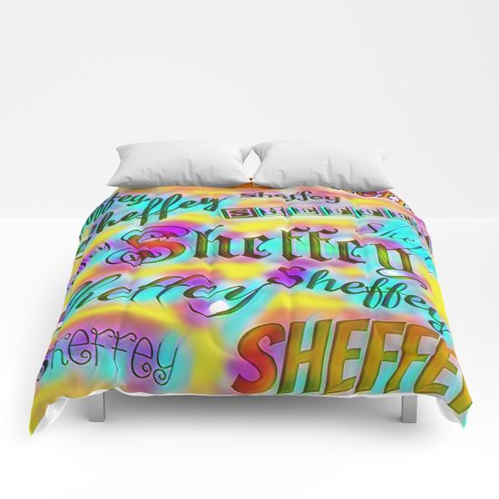 beautiful Sheffey Fonts - Yellow and Pink Rainbow 9642 comforter
