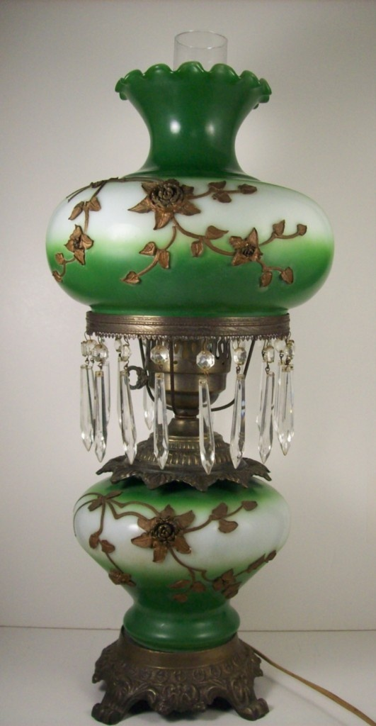 Gone With The Wind Electric Parlor Lamp Ormolu And Glass Prisms