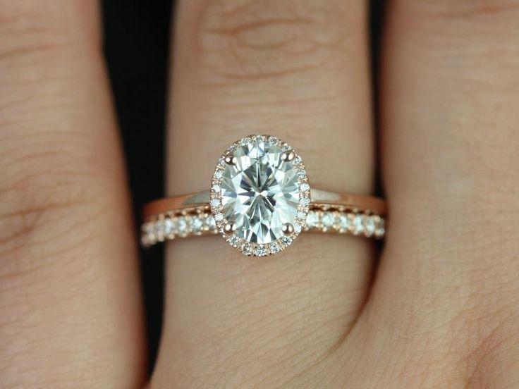 Rosados Box Celeste Rose Gold Oval FB Moissanite and Diamond Pave Halo Wedding Set