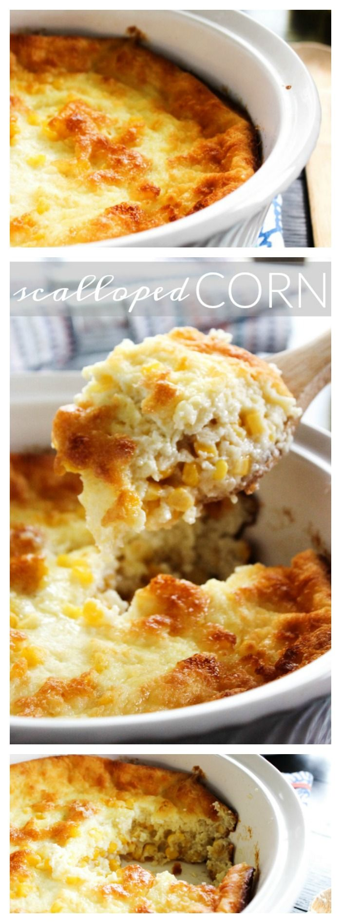 Scalloped Corn - t's like eating cornbread as a souffle. Best corn dish ever.
