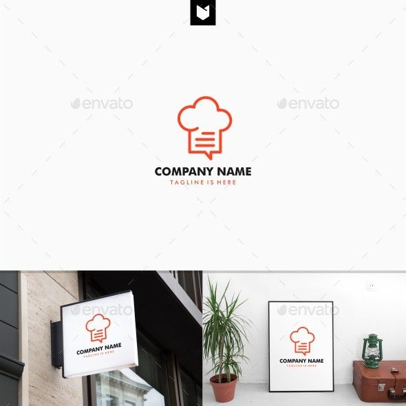 Outline Hat Chef Chat Recipe Talk Bubble Restaurant Logo Template Vector EPS, AI Illustrator