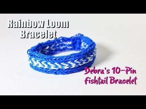"Rainbow Loom ""Debra's 10-Pin Fishtail"" Bracelet. Designed by Debra Timah. Tutorial and looming by PG's Loomacy. Click photo for YouTube tutorial. 04/27/14."