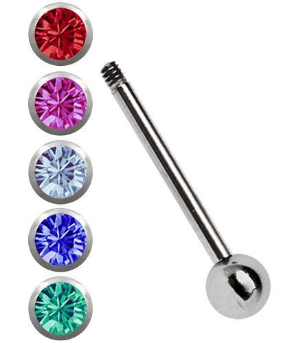 Bild von Titan Set, Zungenpiercing Stab in 1,6 x 12-18 mm mit 5 Steinkugeln #zungenpiercing #zungenstecker #piercingschmuck