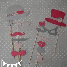 Lot 12 pièces photobooth rose poudré gris et rose fuchsia mariage moustache bouche lunettes pipe  - anniversaire fête