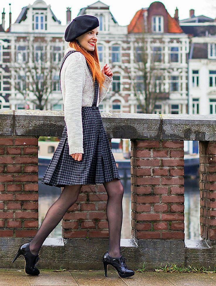 Sonja Vogel; Parisian in Amsterdam. Items in this look; Salopette Skirt Alice's Pig, Knit Sweater H&M,  Brogue Heels Van Haren, Black Beret From Paris. See her on Lookbook!