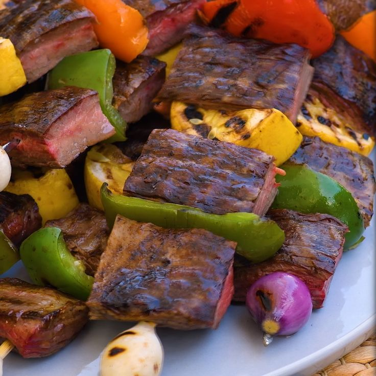 Spicy Teriyaki Marinated Flank Steak with Grilled Peaches