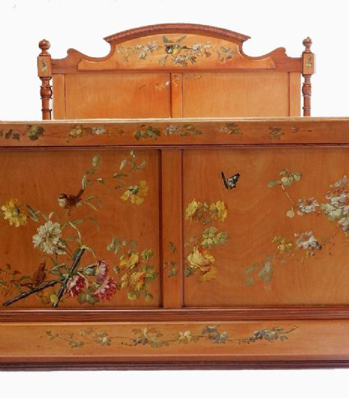 Unusual Art Nouveau French large single 4ft Bed Original Hand Paintwork Birds and Flowers
