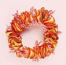 How to make a dried apple garland or wreath-- includes instructions on drying apple slices