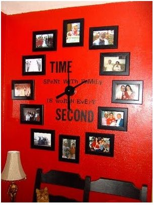 Creative sclevel1: Families Pictures, Living Rooms, Families Clocks, Red Wall, Cute Ideas, Cool Ideas, Photos Clocks, Wall Clocks, Families Photos