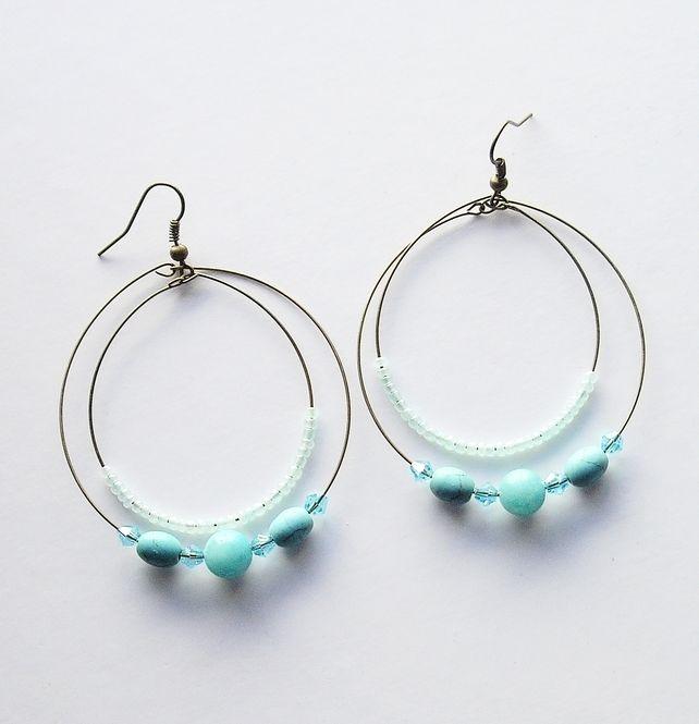 Bronze and Turquoise Bead Double Hoop Earrings £4.50