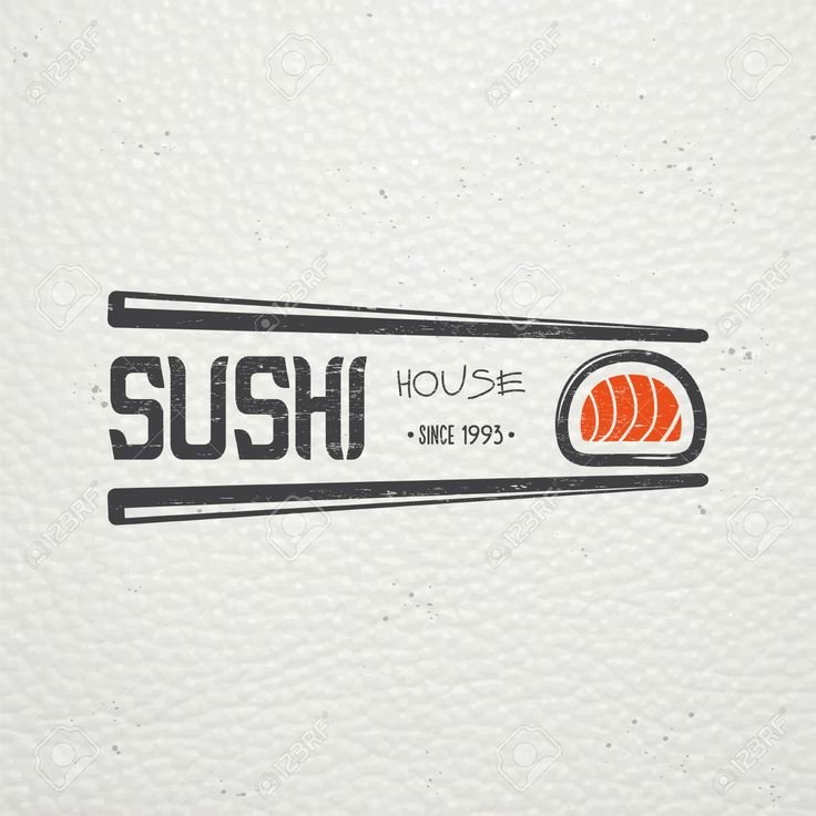 Sushi And Rolls A Set. Japanese Kitchen. Food Service. Old Retro Vintage Grunge. Scratched, Damaged, Dirty Effect. Typographic Labels, Stickers, Logos And Badges. Flat Vector Illustration Clip Art Libres De Droits , Vecteurs Et Illustration. Image 47500231.