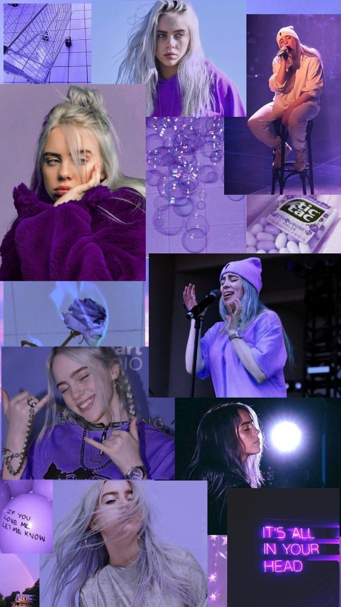 Billie Eilish tumblr inspired purple wallpaper #downloadcutewallpapers Billie Eilish tumblr inspired purple wallpaper