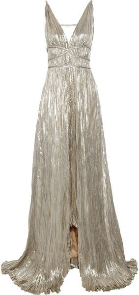 OSCAR DE LA RENTA SILVER !  MIRRORPleated Lamé Gown Stunning and Sleek.