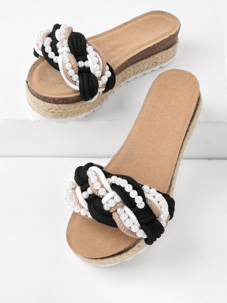 Shop Faux Pearl Decorated Flatform Slip On Sandals online. SheIn offers Faux Pearl Decorated Flatform Slip On Sandals & more to fit your fashionable needs.