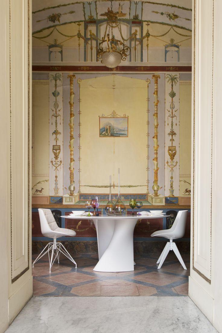 Project: Exhibition at Palazzo San Teodoro, Architect: Stefano Santoro, Photo credit: Teresa Carnuccio, Sales partner: Spazio Materiae #mdfitalia #diningroom #diningroomideas #table #chair