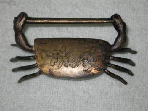 Chinese Old Style Brass Carved Crab Padlock Lock Key | eBay