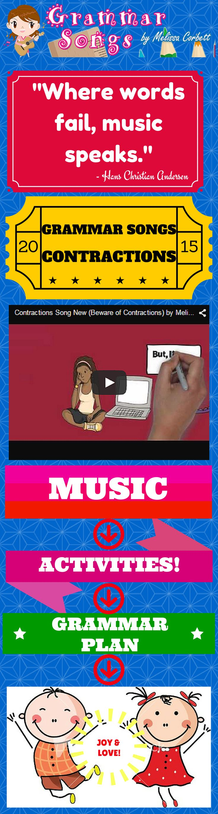 """Contractions Song by Melissa...This song was born when I was struggling to find a creative avenue to teach contractions. The thought of a monster eating the letters gave way to a whole new concept to keep learning contractions fun and engaging. As the letters disappear and replaced by an apostrophe, the main character grows apprehensive. Because the apostrophe is so memorable, students will recall the concept long after the """"assignment is completed."""""""