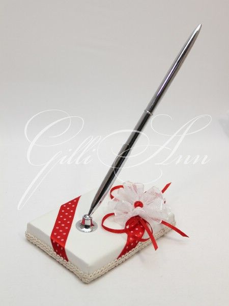 Свадебная ручка с подставкой Gilliann Red Retro PEN018, http://www.wedstyle.su/katalog/anniversaries/wedding-pen, wedding pen