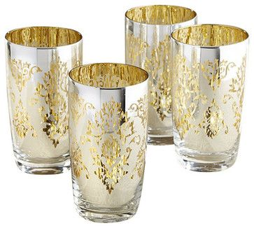 Brocade Silver Highball Glasses, Set of 4 traditional-cups-and-glassware