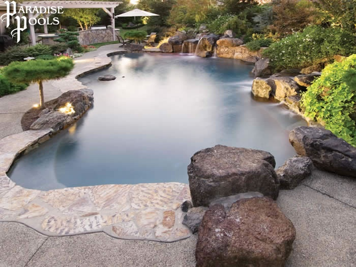 Paradise pools a real mountain lake design awesome for Landscaping rocks visalia ca