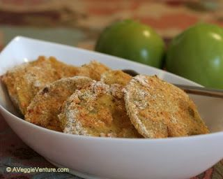 (Un) Fried Green Tomatoes (Baked Green Tomatoes) ♥ AVeggieVenture.com, baked not fried, best for green tomatoes picked just before frost. WW3.