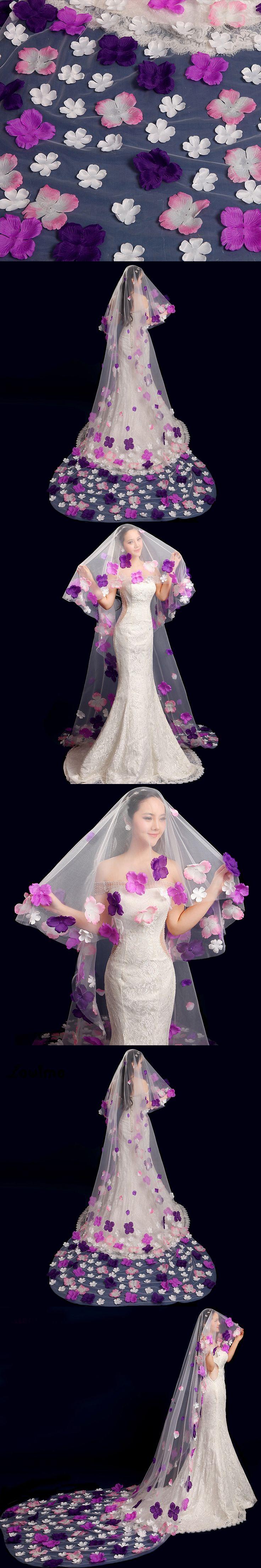 White/Ivory Wedding Veil 3 Meters Long One Layer Cut Edge Adult Bridal Veil With Handmade Flowers Appliques velos de novia