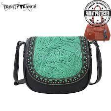 Montana West Trinity Ranch Tooled Design Concealed Handgun Handbag-Black - Keffeler Kreations | HilltopBoutique.com