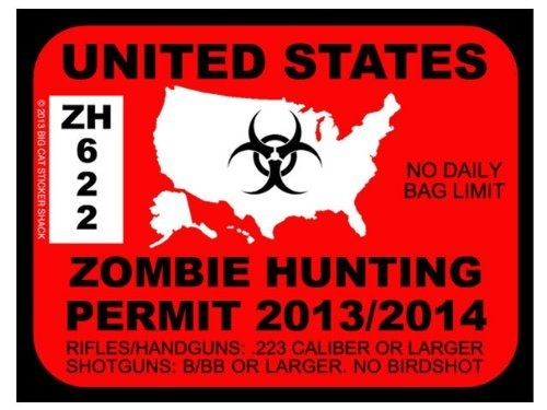 United States Zombie Hunting Permit (Bumper Sticker) by Big Cat Sticker Shack, http://www.amazon.com/dp/B005G3XFW6/ref=cm_sw_r_pi_dp_ORYYqb0K6PEF9 #mike1242