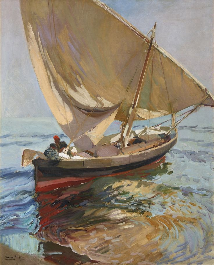 blastedheath:  Joaquín Sorolla (Spanish, 1863-1923), Camino de la pesca. Valencia [Setting out to sea. Valencia], 1908. Oil on canvas, 111 x...