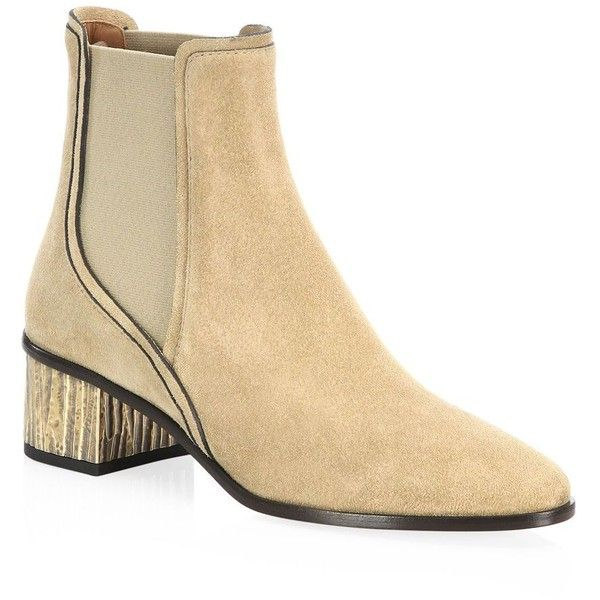 Chloé Qassie Suede Chelsea Boots (3,130 PEN) ❤ liked on Polyvore featuring shoes, boots, ankle booties, chelsea boots, suede ankle booties, suede beatle boots, chloe boots and pull on boots